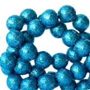 4 mm acrylic beads with glitter Dark Ocean Blue