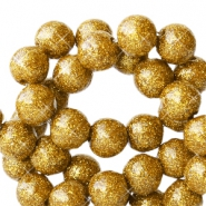 4 mm acrylic beads with glitter Gold