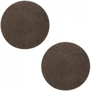 DQ leather cabochons 20mm Dark Vintage Brown