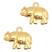 DQ metal charms elephant Gold (Nickel Free)