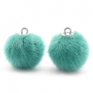 Faux fur pompom charms 16mm Blue Zircon