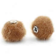 Faux fur pompom beads 12mm Vintage Golden Brown
