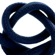 Trendy stitched cord silk style 4x3mm Dark Blue
