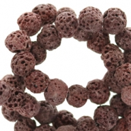 6 mm natural stone beads matt Lava Aubergine Purple