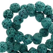 6 mm natural stone beads matt Lava Classic Green