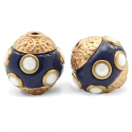 Bohemian beads 14mm Dark Blue-Gold