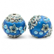 Bohemian beads 16mm Olympic Blue-Silver
