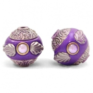 Bohemian beads 14mm Purple-Silver