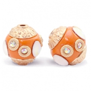 Bohemian beads 14mm Mandarin Orange-Gold Crystal