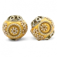 Bohemian beads 14mm Mustard Yellow-silver