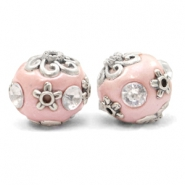 Bohemian beads 16mm Blossom Pink-Silver