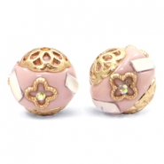 Bohemian beads 16mm Lilac Pink-White Gold