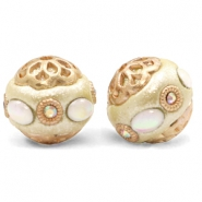 Bohemian beads 16mm Metallic Beige-Diamond Coated White Gold