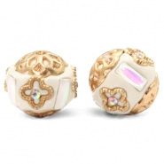 Bohemian beads 16mm Beige-White Crystal Gold