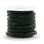 DQ round braided leather 8 strings 4mm Dark Classic Green