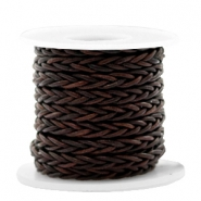 DQ round braided leather 8 strings 4mm Vintage Chocolate Brown
