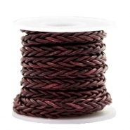 DQ round braided leather 8 strings 4mm Port Royal Brown