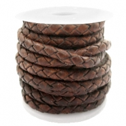 DQ round braided leather 4 strings 3mm Mauve Brown