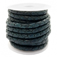 DQ round braided leather 4 strings 3mm Dark Peacock Blue