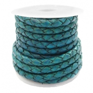 DQ round braided leather 4 strings 3mm Teal Green