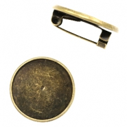 Findings metal brooch for cabochon 20 mm Bronze