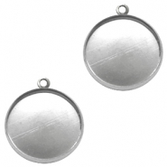 Settings charm metal for cabochon 20 mm Antique Silver