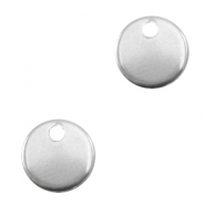 Stainless steel charms round Silver