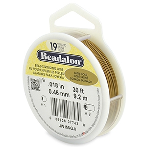 Beadalon stringing wire 19 strand 0.46mm Satin Gold