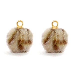 Pompom charms Faux fur leopard Brown