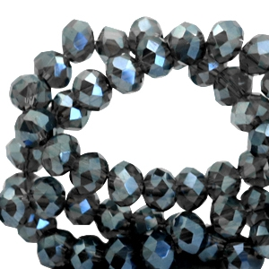 Top faceted beads 4x3mm disc Greenish Black Diamond-Top Shine Coating