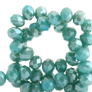 Top faceted beads 4x3mm disc Porcelain Green-Top Shine Coating
