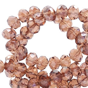 Top faceted beads 6x4mm disc Dark Ginger Red-Top Shine Coating