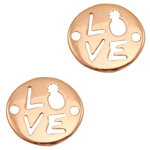 "DQ European metal charms connector ""LOVE"" Rose Gold (nickel free)"
