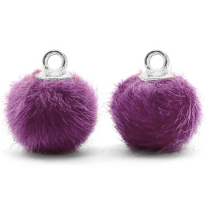 Pompom charms with loop faux fur 12mm Purple-Silver