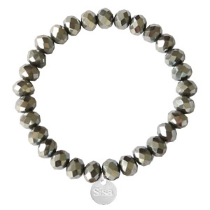 Sisa top faceted bracelets 8x6mm (stainless steel charm) Greenish Grey-Amber Coating