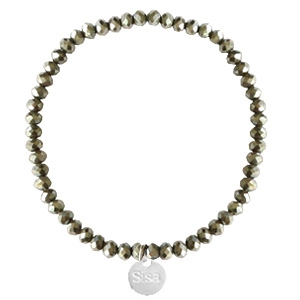 Sisa top faceted bracelets 4x3mm (stainless steel charm) Greenish Grey-Amber Coating
