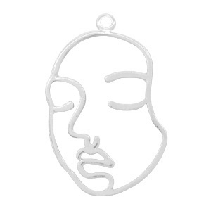 Metal charms lined face Silver