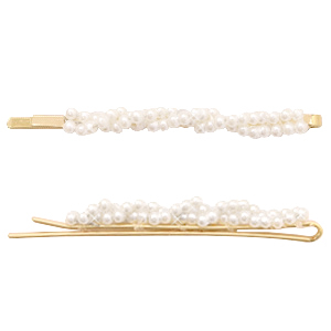 Hair accessories bobby pin pearls Off White-Gold