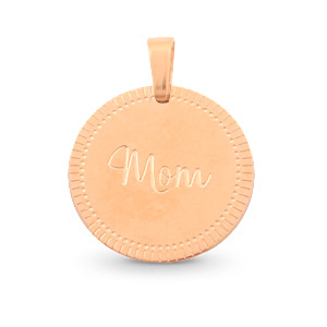 "Stainless steel charms round 15mm ""mom"" Mix&Match Rose Gold"