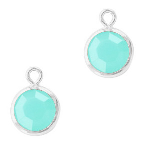 DQ Crystal glass charms round 6mm Silver-Caribbean Blue
