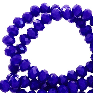 Top faceted beads 4x3mm disc Dazzling Blue-Pearl Shine Coating