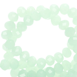 Top faceted beads 4x3mm disc Light Green Opal-Pearl Shine Coating