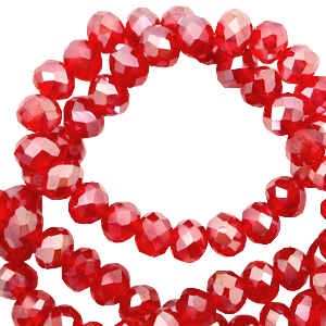 Top faceted beads 4x3mm disc Carmine Red Opal-Diamond Coating