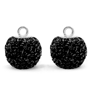 Pompom charms with loop glitter 12mm Black-Silver