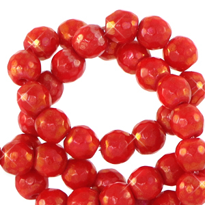 4 mm natural stone faceted beads round Raspberry Rose-AB Coating