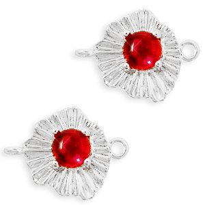 "Brass TQ metal charms connector ""sunny stone"" Silver-Scarlet Red"