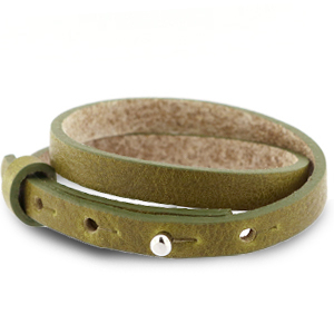 Cuoio bracelet leather 8 mm double for 12 mm cabochon Olive Green
