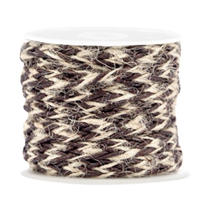 Trendy flat braided waxed cord 7mm Dark brown