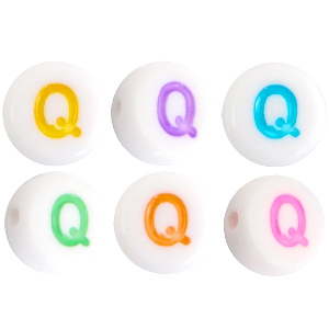 Acrylic letterbeads letter Q Multicolor-White