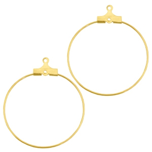 DQ metal creole earrings charms 30mm Gold (nickel free)